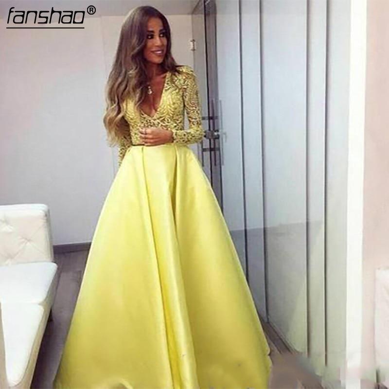 Jaune dubaï Abaya manches longues robes de soirée col en V robes en dentelle tenue de soirée Zuhair Murad robes de bal