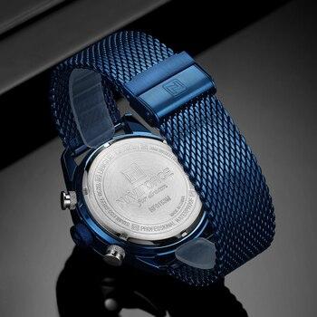 NAVIFORCE Mens Watches Top Luxury Brand Men Sports Watches Men's Quartz LED Digital Clock Male Full Steel Military Wrist Watch 5