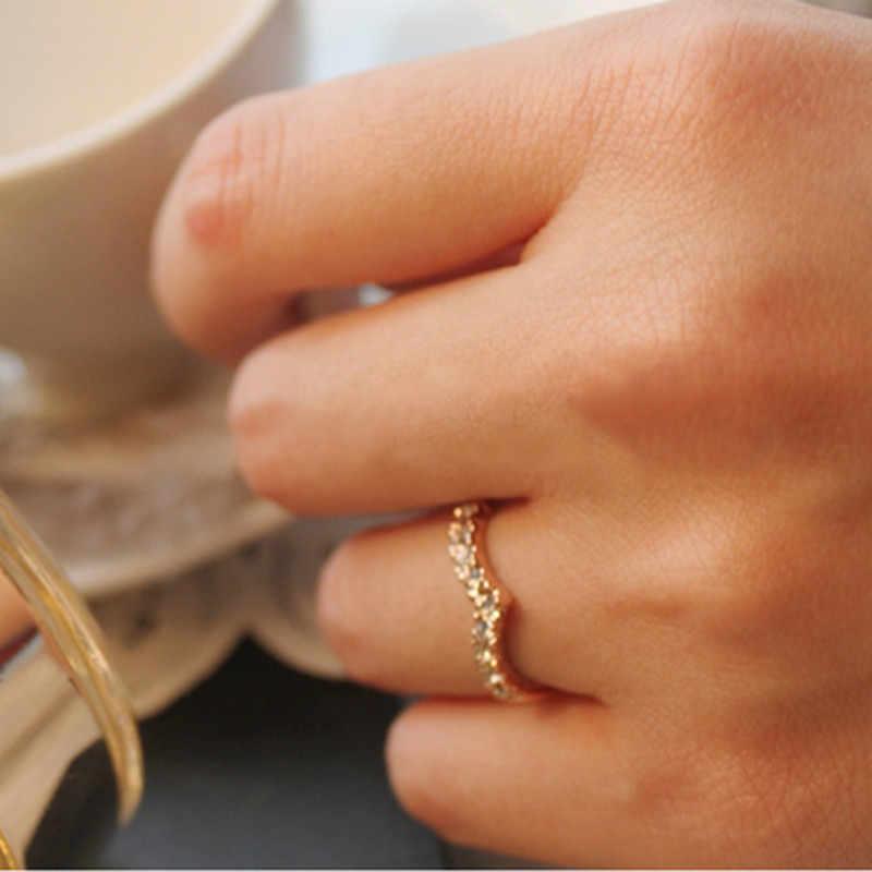 Anillo de compromiso de dedo de cristal de corazón de joyería de oro nuevo Anillo de moda para mujeres regalo amante romántico anillo Nj26