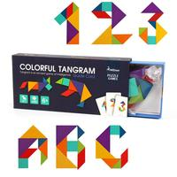 Tuba Wooden Tangram 7 Piece Children Wooden Educational Jigsaw Puzzle Colorful Square IQ Game Brain Teaser