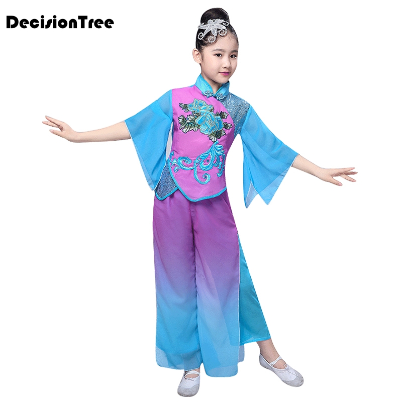 2019 new girls yangko dance childrens clothing costume stage costumes ink classical dance costumes children alone dance dress2019 new girls yangko dance childrens clothing costume stage costumes ink classical dance costumes children alone dance dress