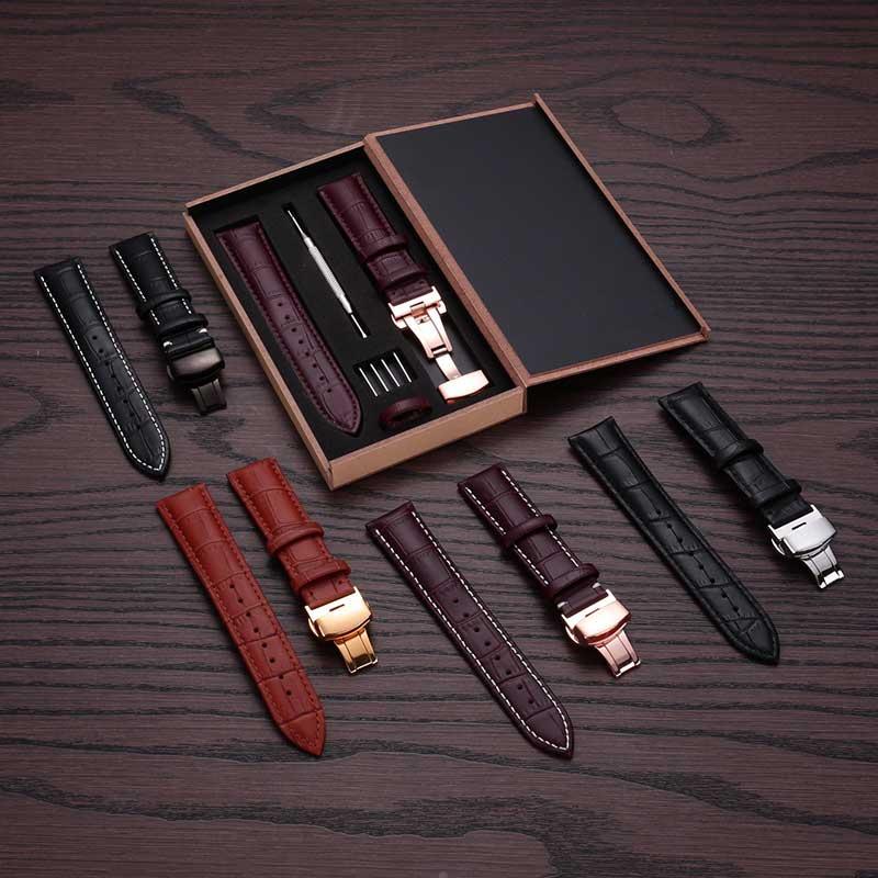 Relojes banda 12 13 14 15 16 17 18 19 20 21 22 23 24 becerro suave de cuero genuino reloj banda de reloj de correa para Tissot Seiko