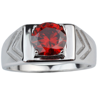 New Style 2015 Round Cut Red Garnet 2 V Carved White Gold Finish 925 Sterling Silver