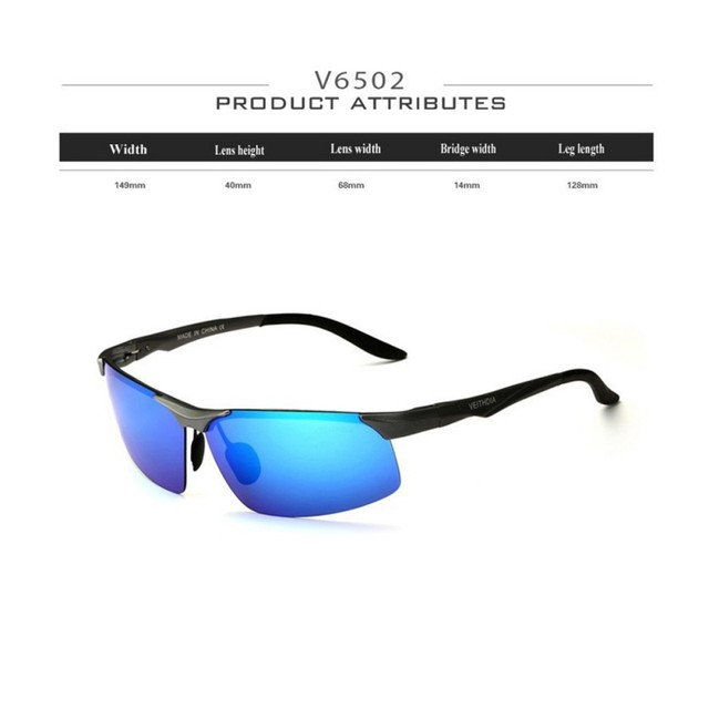 Aluminum Magnesium Polarized Sunglasses Men Night Driving Mirror Eyewear Veithdia