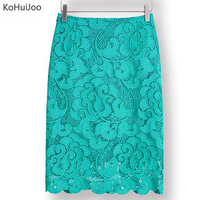 KoHuiJoo 2017 High Waist Bodycon Lace Skirt Womens Black White Green Blue Feminino Formal High Quality