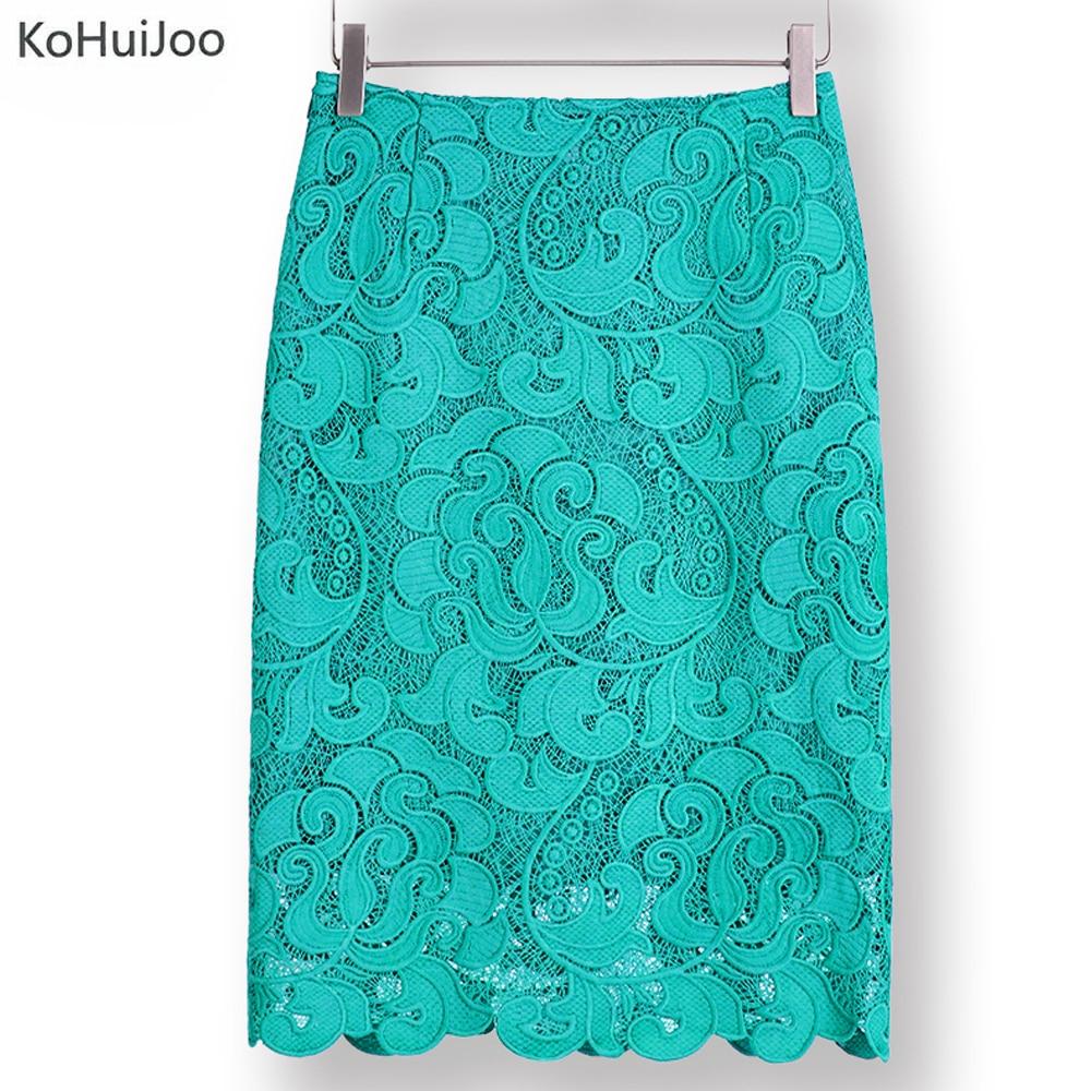 KoHuiJoo 2019 High Waist Bodycon Lace Skirt Womens Black White Green Blue Feminino Formal High Quality Ladies Pencil Skirts