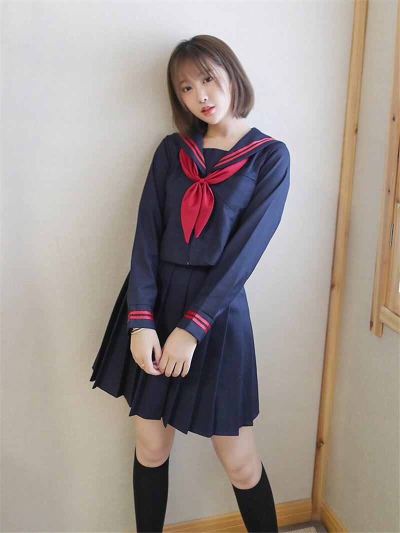 ea1cd0e90 Uniforme de escuela secundaria japonesa uphid chicas adolescentes Anime  Cosplay Kawaii estudiante uniforme S-2XL Sailor Suits 3 unids set