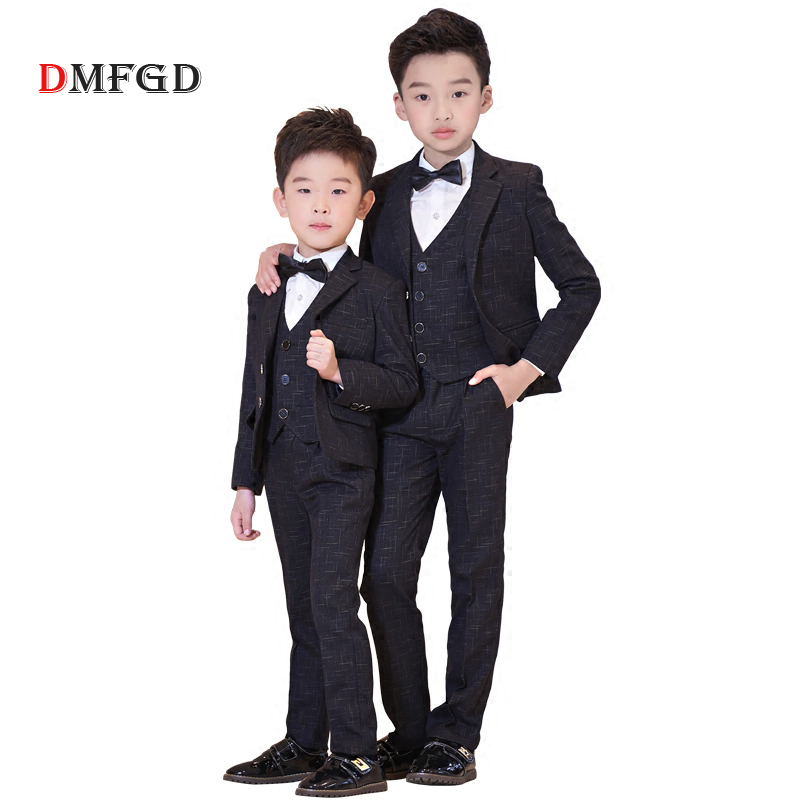 New teenager suit clothing set for boys plaid brand jacket trousers coats formal kids clothes suits children uniform party dress цена 2017