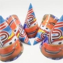 6pcs/set  Lightning Mcqueen Paper Hats Kids Party Supplies Babyshower Caps Happy Birthday Favor