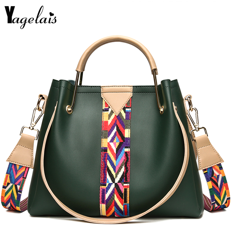Women National Style Shoulder Bags Patchwork Fashion Handbags Women Crossbody Bags Soft PU Leather Totes Female Commuter Bolsas