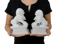 A pair 16CM #HOME office Company shop efficacious FENG SHUI Talisman Inviting Money white jade kylin Lion Sculpture ART statue