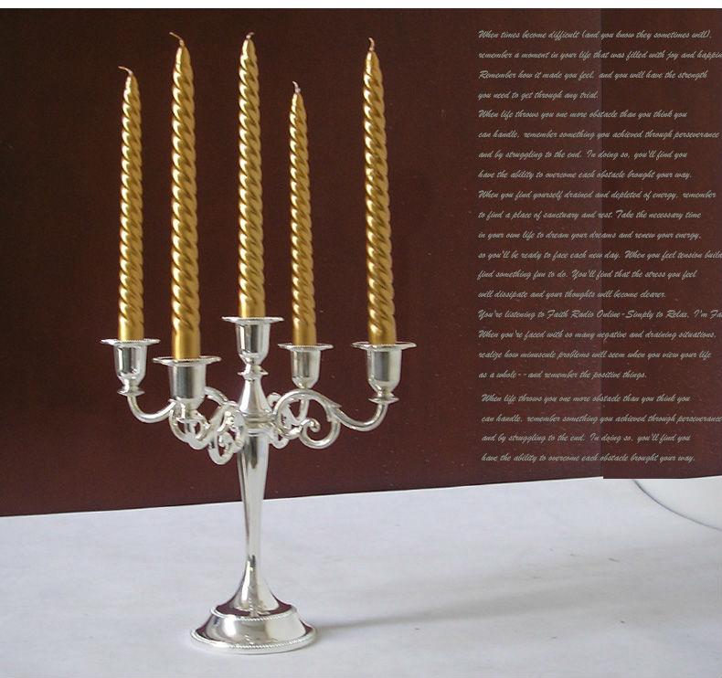 Svijećnjak sa svijećama od 5 ruku, svijećnjak srebrni kandelabra 5 - Kućni dekor - Foto 1