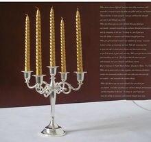 5-arm iron candle holder centerpiece candlesticks silver candelabra 5 arm candelabra for wedding home decoration ZT2008s