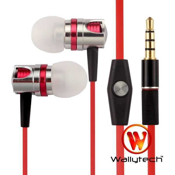 Wallytech Wallytech High Quality Flat Cable Metal Earphones With Microphone & On/Off Remote For iPhone (WHF-109)