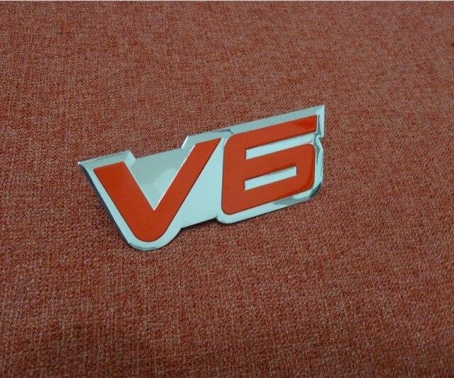1 St 3d Aluminium V6 Logo Auto Sticker V 6 Motor Teken Chrome Emblem