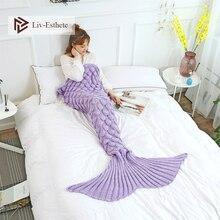 Liv-Esthete Purple Soft Knitted Mermaid Tail Blanket Crochet Sleeping Bag For Kids Adult All Season Birthday Christmas Gift
