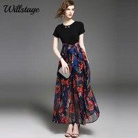 LADYBEES 2017 Summer Long Maxi Dress Women Floral Printed Boho Beach Dresses Chiffon Patchwork Bow Sexy