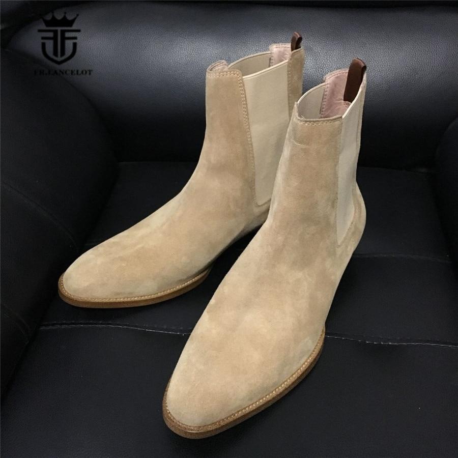 2018 Handmade LUXURY Genuine Leather Vintage SLIM Pointed Toe Chelsea Men Boots Real Picture Denim Gentleman Dress Suede Boots