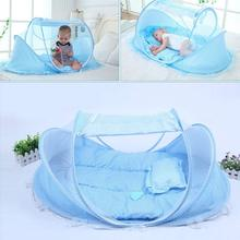 Baby Bedding Crib Netting Folding Music Mosquito Nets Bed Mattress Pillow Three-piece Suit For 0-3 Years Old Children