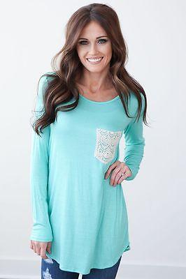 Sexy Women Casual Long Sleeve Shirt Tops Blouse Tee Shirt Lace Pocket Blouse