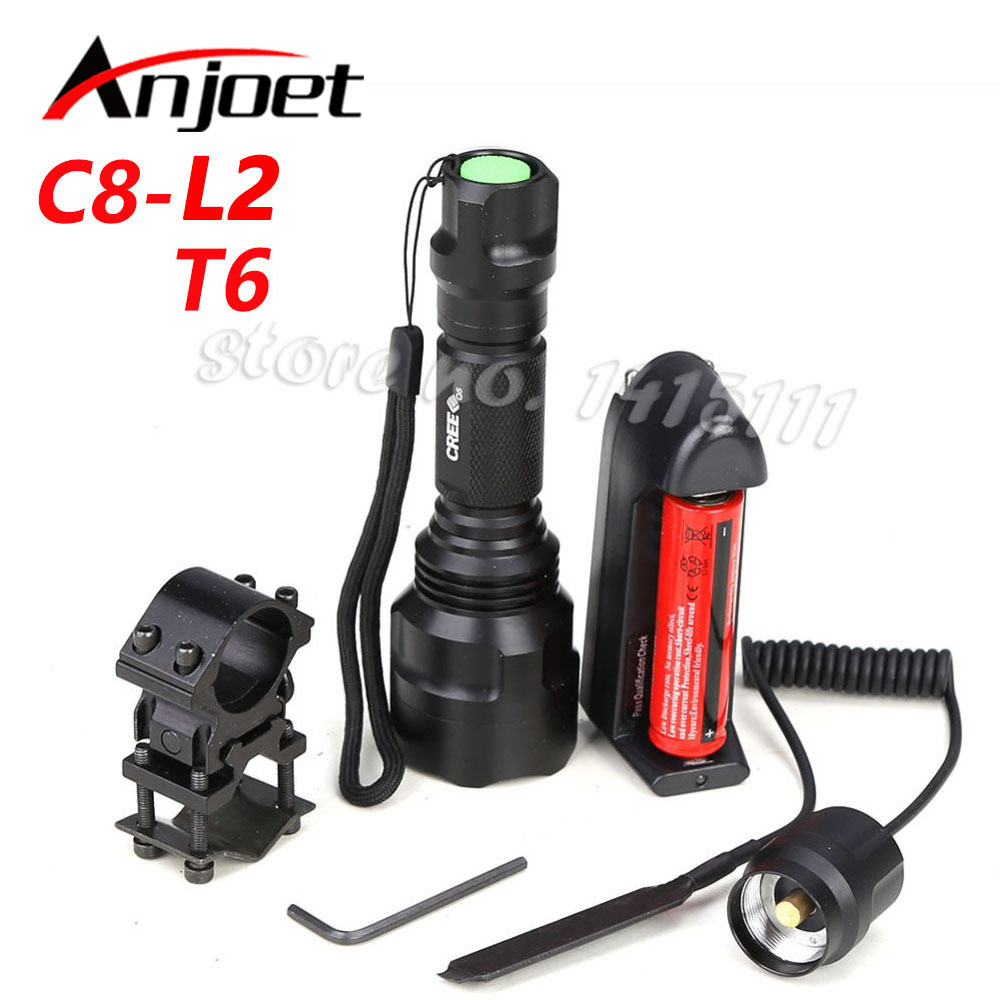 High Quality Lantern C8 XML L2 T6 Q5 Led Flashlight Linterna Torch Light Hunting Flash Light+18650+Battery Charger+Gun Mount