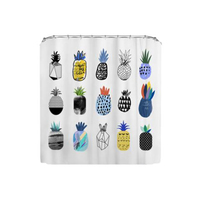 Waterproof Shower Curtain Fabric Polyester Creative Bath Curtains Printed Pineapple Curtains For Bathroom 180*180CM