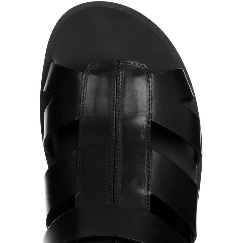 Rutschen Größe Plus Echtem High Strand Aus Leder Sandalen Sandalia 45 Gladiator Schnalle Schwarz Sommer Black Top Stiefel Männer 2019 xS1wZgq6a
