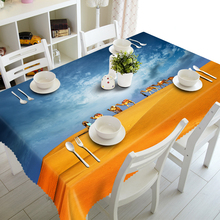 Customizable 3d Tablecloth Desert Camel Scenery Pattern Thicken Polyester Cleanable Waterproof Rectangular and Round Table cloth