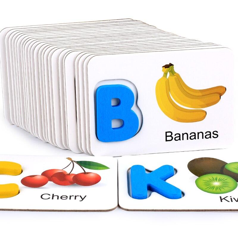 Holzspielzeug Obst und gemüse, englisch alphabet identifikation, alphabet karten, kognitiven spielzeug, frühkindliche bildung