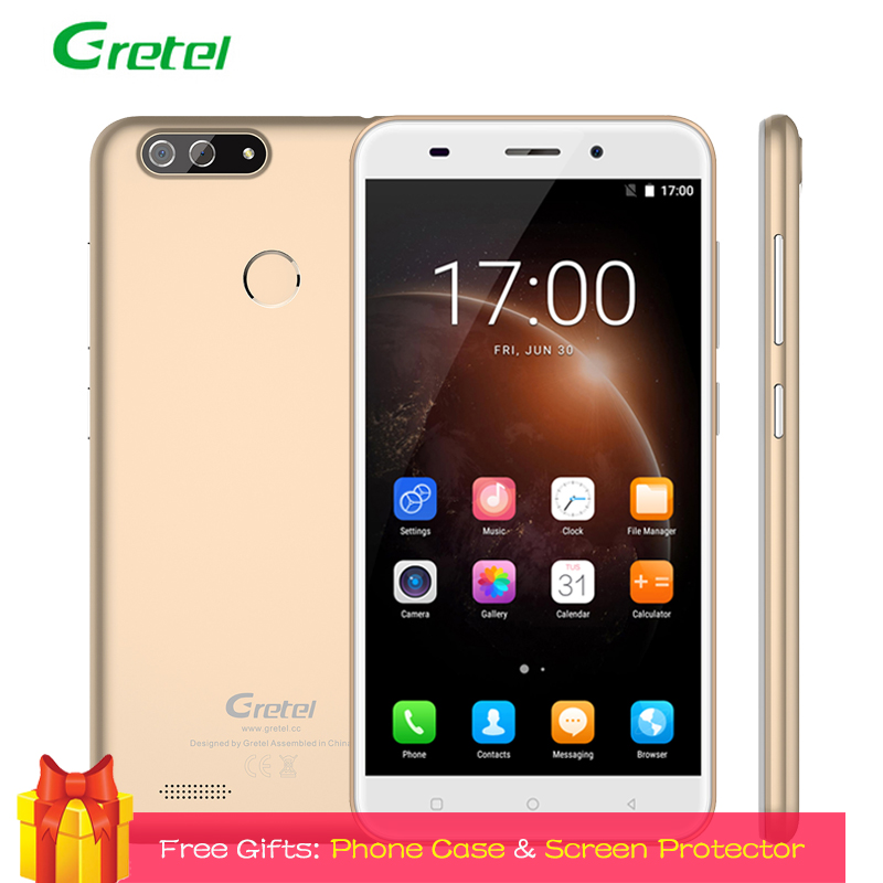 Gretel S55 3G Smartphone 5.5 Inch Android 7.0 Dual Back Camera 1GB RAM 16GB ROM Quad Core 8MP Fingerprint Unlocked Cell Phones