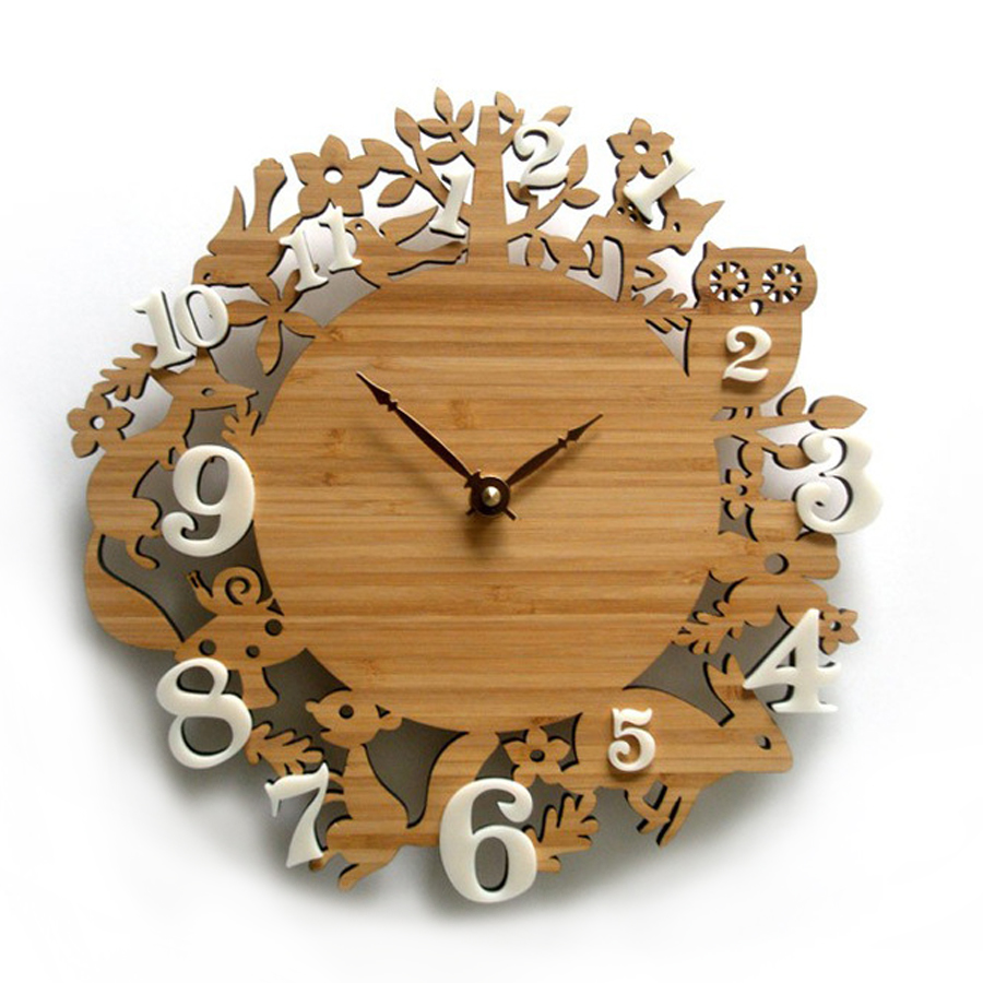 Creative Wall Clock Wood Pastoral Forest Animals Birds