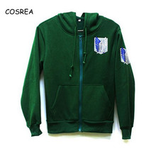 Cosplay Costumes Hoodie Attack On Scouting Legion Titan Anime Sweatshirt Jacket Black