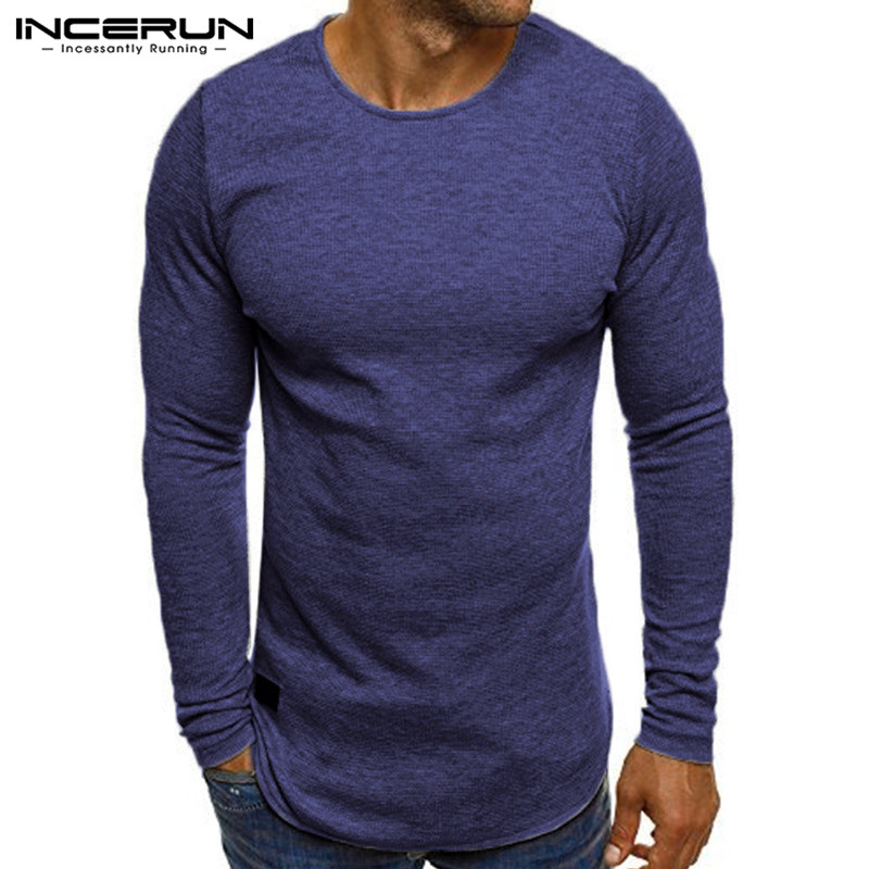 INCERUN 2018 New Mens T Shirt Long Sleeve O Neck Underwear Basic T-shirt Casual Autumn Tees Tops Fitness Solid Camisetas 5 Color