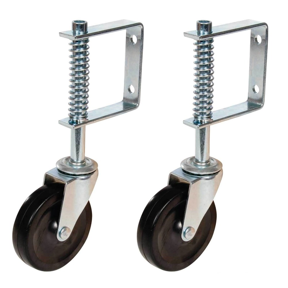 2pcs Spring Loaded Gate Jockey Wheel Swivel Castor 100mm (4