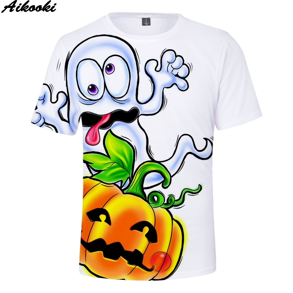 Aikooki Halloween Party 3D T-shirt Men Women Print 10 Colour Summer T shirt 3D Halloween Happy Christmas t shirt Men's Tops