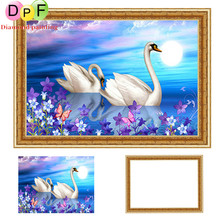 DPF Framed swan Diamond Embroidery round Painting Cross Stitch Rhinestone home Decoration painting