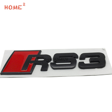 Car Accessories for RS3 RS 3 Logo Metal Rear Trunk Badge Stickers Auto Emblem Decals for Audi RS3 RS4 S3 S4 A3 A5 Q5 B6 quattro