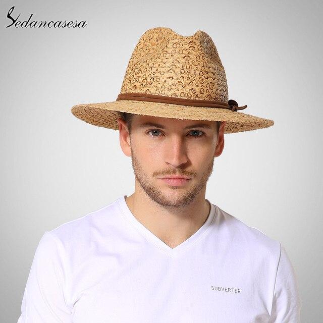 Лето Fedora Соломенные шляпы для мужчин beach sun hat УФ-защита печатных рафии соломенные шляпы с лентой случайные 57 см 59 см 61 см