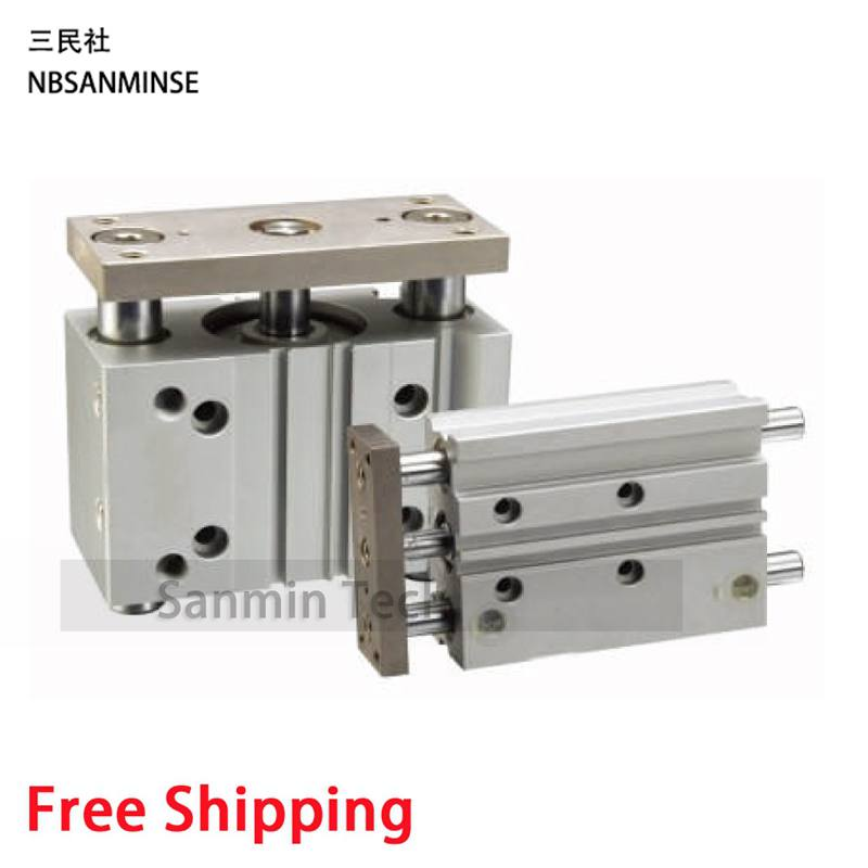 Compressed Air Cylinder MGPM SMC Type Cylinder Miniature Guide Rod Cylinder Double Acting Pneumatic High Quality Sanmin free shipping air cylinder pneumatic compressed parts msqb type pinion air non lube smc high quality on best sale sanmin