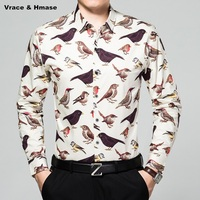 Animal Pattern Birds Printing Fashion Casual Long Sleeve Men Shirt New Arrival Mercerized Cotton Quality Boutique