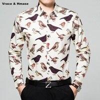Animal pattern birds printing fashion casual long sleeve men shirt New arrival mercerized cotton quality boutique shirt M XXXL