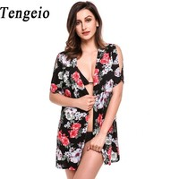 Tengeio Women Kimono Cardigan Blouse 2017 Boho Split Short Sleeve Open Front Floral Print Beach Summer