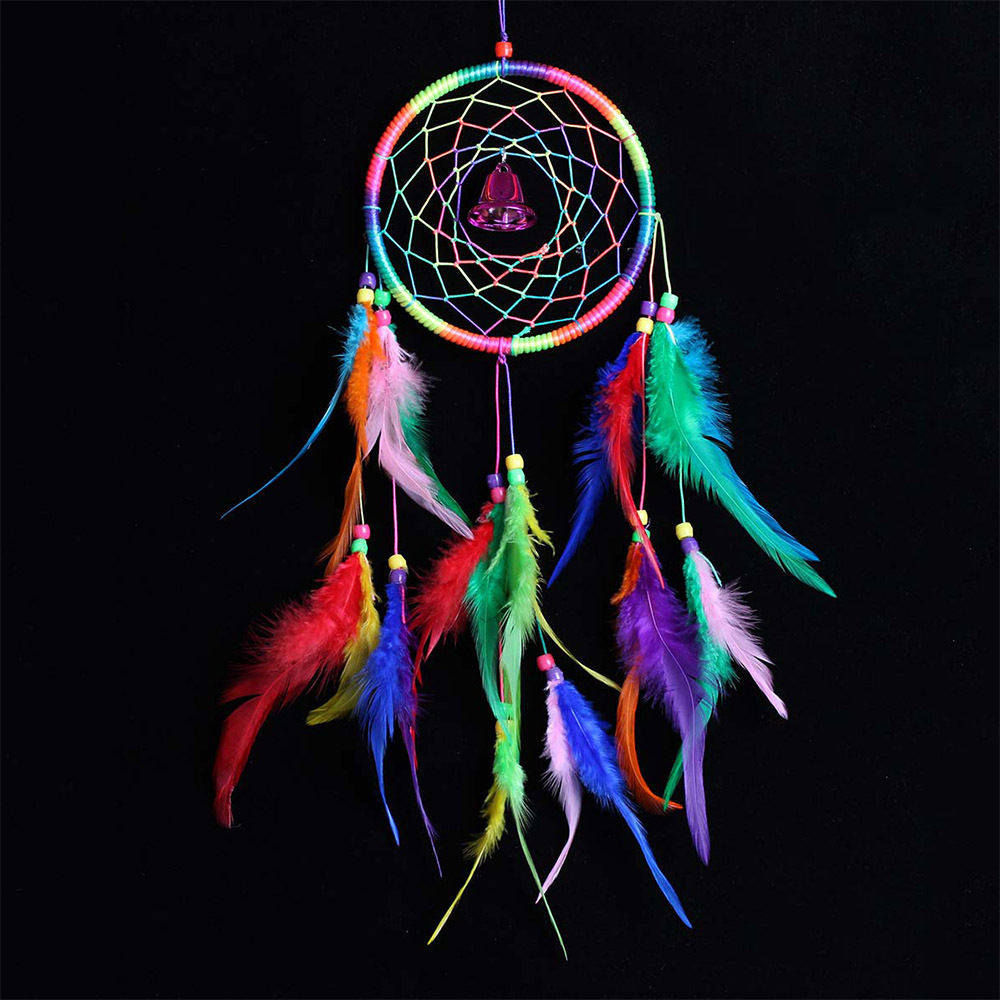 Dream Catcher Net Feathers Bell Pendant Indian Style Wall Hanging ... for Indian Hanging Decorations  76uhy