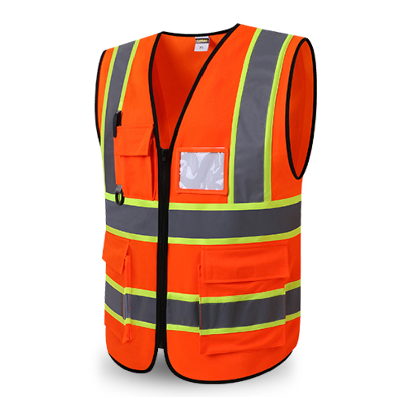 Unisex Safety Vest One Size Fit Most Reflective Motorcycle Vest Zipper Front Fluorescent Orange Yellow Logo Printing цена и фото