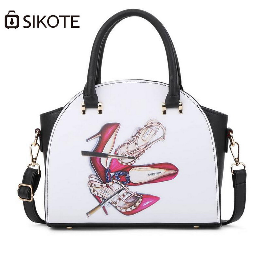ФОТО sikote 2017 new printing handbag, fashion casual shoulder bag handbags. High-end PU bag. Girl bag Woman bag
