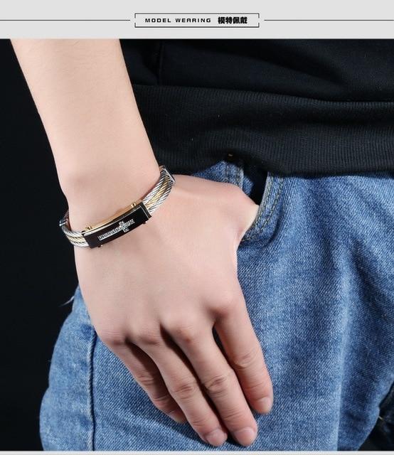 Купить модный мужской браслет 316l титановая сталь три ряда проволоки картинки