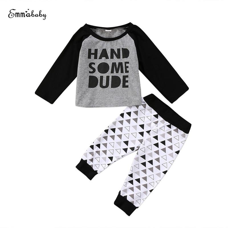 0-24M Kids Infant Baby Boy Long Sleeve Letter Crewneck Blouse Tops Pants Black Fashion Outfits Clothes Set