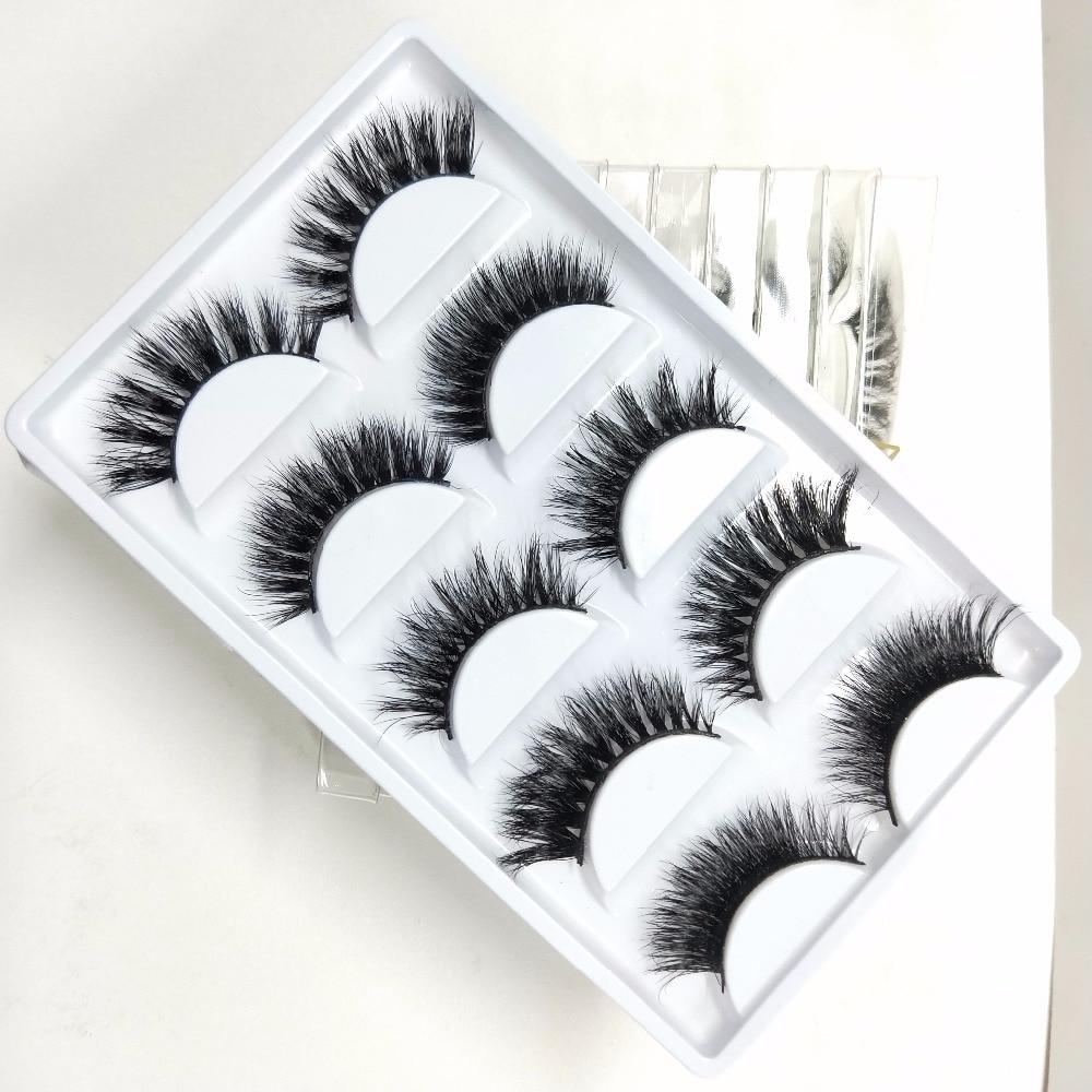 5Pair Lashes False Eyelashes Natural Makeup 3d Mink Lashes Eyelash Extension Make Up real siberian mink strip eyelashes