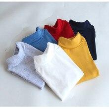 Дна воротником высоким зимний длинными рукавами футболка футболки мальчиков хлопка девочек