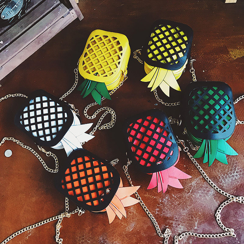 Perilla Brand Leather Cute Handbag For Women Lovely Pineapple Girl Messenger Bag With Chain Hollow Out PU Women Bag Mini Purse colorful pu leather strap for bag accessories handle with metal clasp for diy purse 10pcs lot